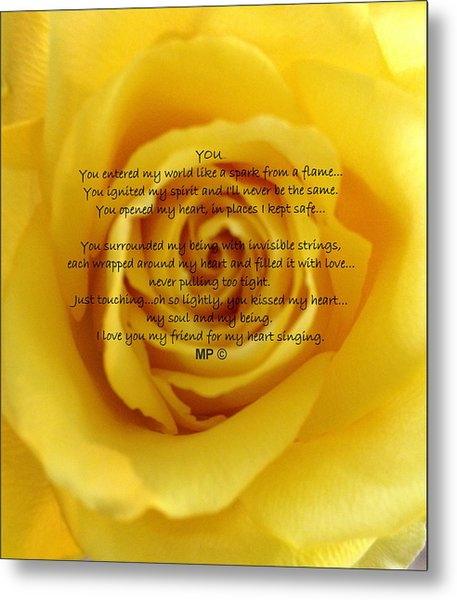 You Poem On Yellow Rose Metal Print