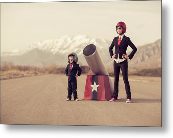 Young Boy And Woman Business Team With Metal Print by Richvintage