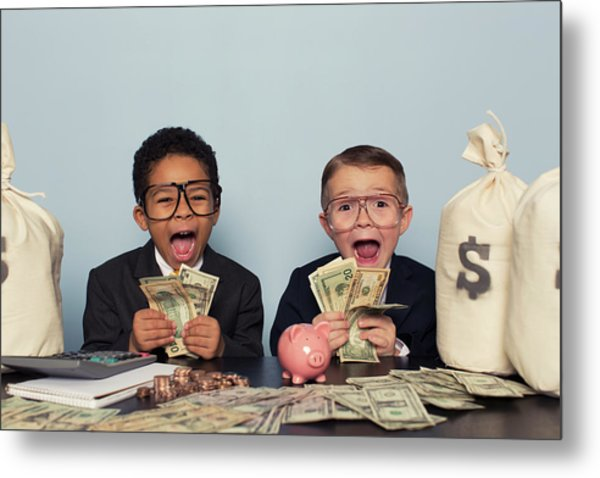 Young Business Children Make Faces Metal Print by Richvintage