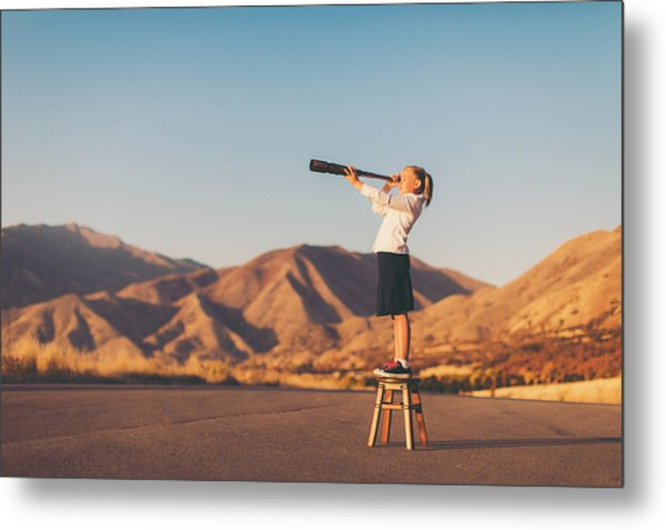 Young Business Girl Looks Through Telescope Metal Print by RichVintage