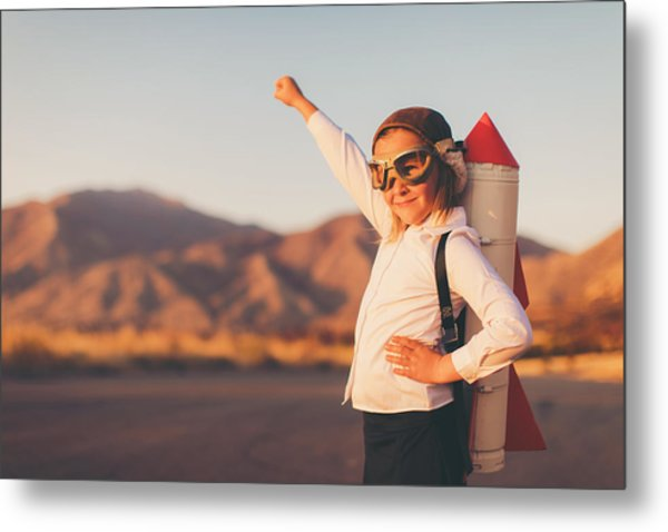 Young Business Girl With Rocket Pack Metal Print by RichVintage