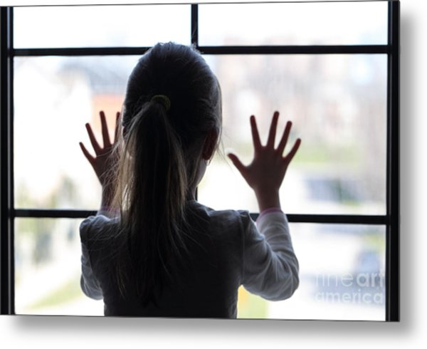 Young Girl At Window Metal Print