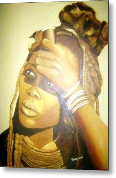 Young Himba Girl - Original Artwork Metal Print