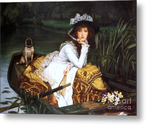 Young Lady In A Boat Metal Print