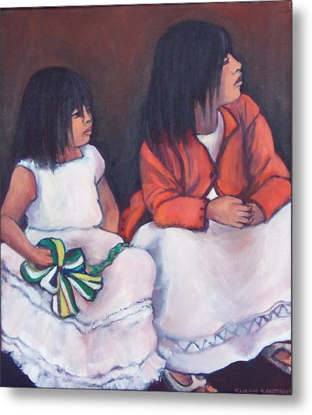 Young Mexican Girls At The Independence Parade  Metal Print
