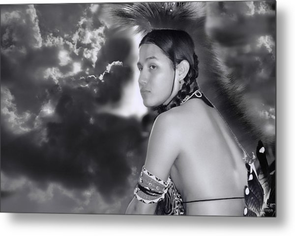 Young Native American Bw  Metal Print