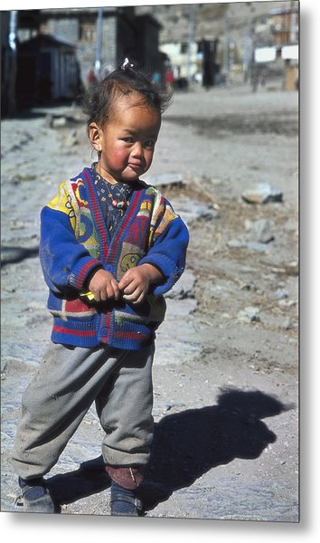 Young Nepalese Girl In Manang Metal Print by Richard Berry