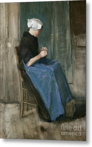 Young Scheveningen Woman Knitting Facing Right Metal Print