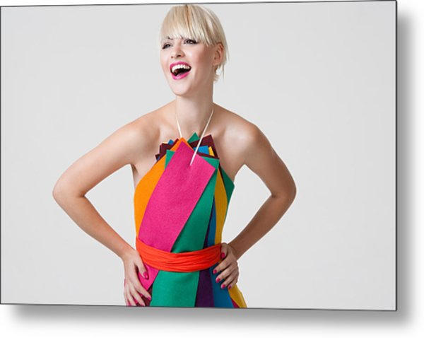 Young Woman In Dress Made Of Coloured Ribbons Metal Print by Image Source