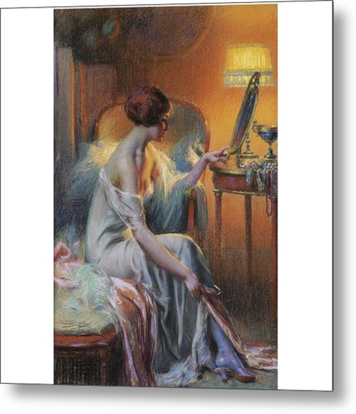 Young Woman In Her Dressing Room Metal Print