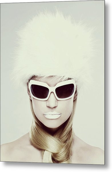 Young Woman Wearing White Sunglasses Metal Print