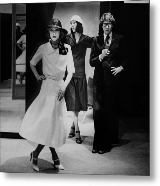 Yves Saint Lauren With Two Of His Assistants Metal Print