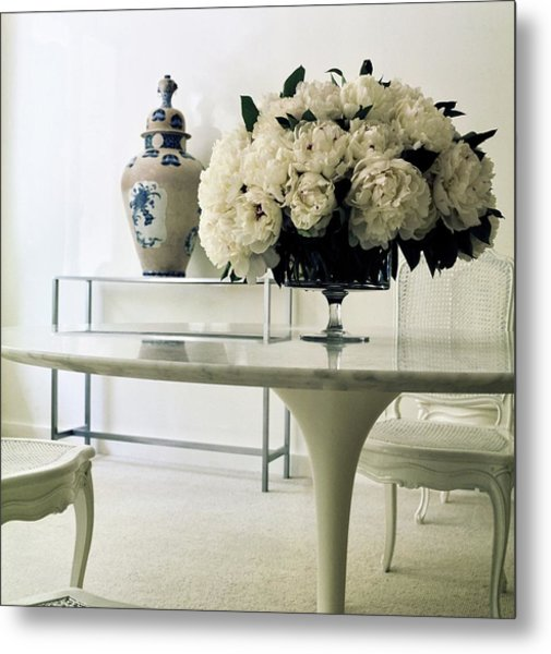 Yves Saint Laurent's Dining Room Metal Print by Horst P. Horst
