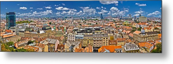 Zagreb Lower Town Colorful Panoramic View Metal Print