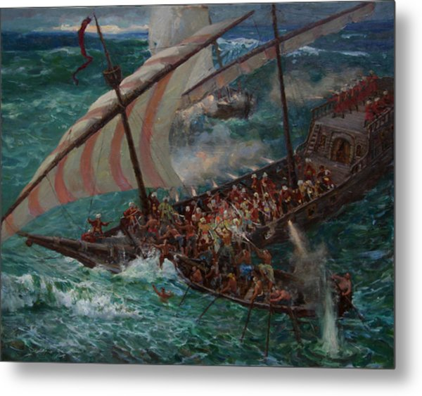 Zaporozhye Cossacks Boarded The Turkish Ship Metal Print by Korobkin Anatoly