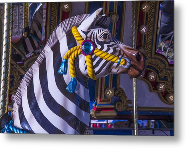 Zebra Amusement  Ride Metal Print