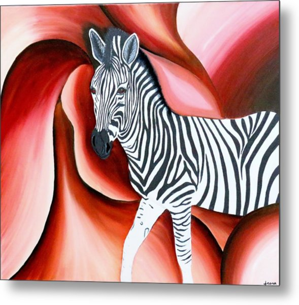 Zebra - Oil Painting Metal Print by Rejeena Niaz
