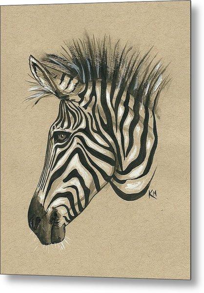 Zebra Profile Metal Print