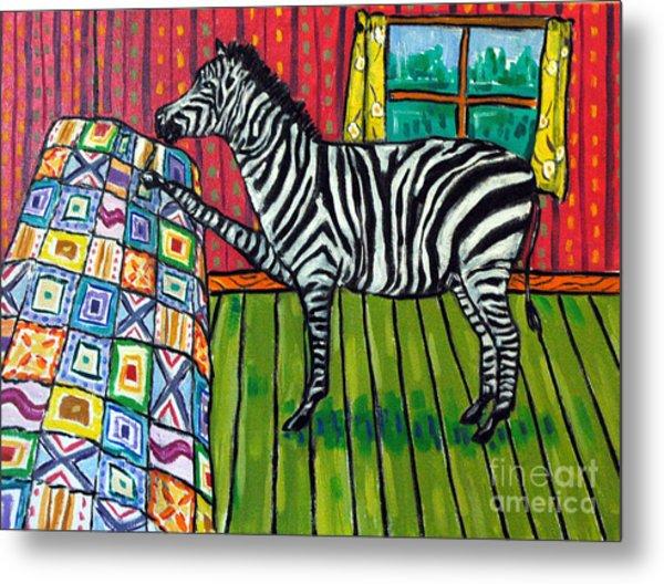 Zebra Quilting Metal Print by Jay  Schmetz
