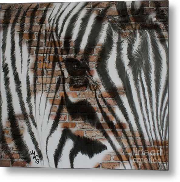 Zebra Wall Metal Print