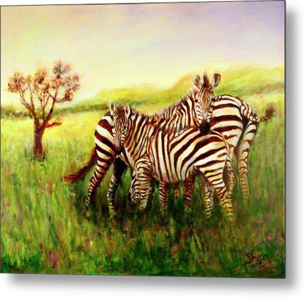Zebras At Ngorongoro Crater Metal Print