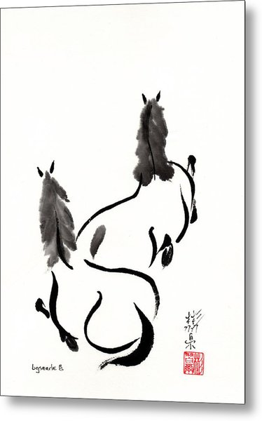 Zen Horses Retired Metal Print