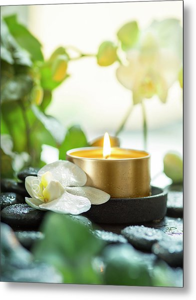 Zen Orchid And Candle Metal Print