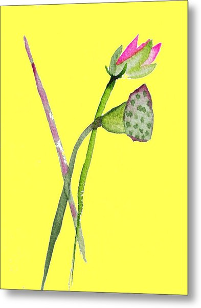 Zen Pink Lotus On Yellow Metal Print by Sacha Grossel