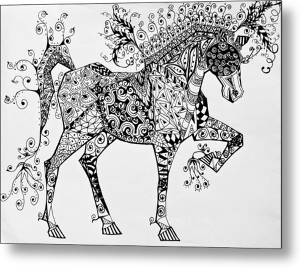 Metal Print featuring the drawing Zentangle Circus Horse by Jani Freimann