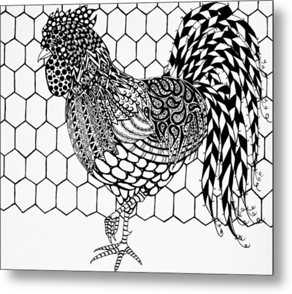 Metal Print featuring the drawing Zentangle Rooster by Jani Freimann