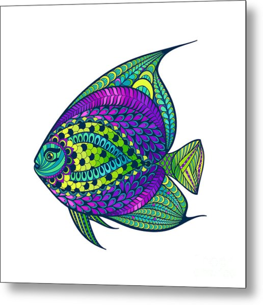 Zentangle Stylized Fish With Abstract Metal Print