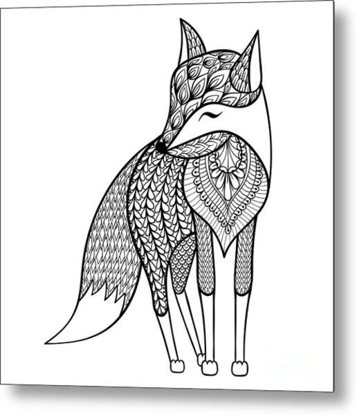 Zentangle Vector Happy Fox For Adult Metal Print