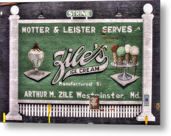 Ziles Ice Cream Mural - Taneytown Carroll County Md Metal Print