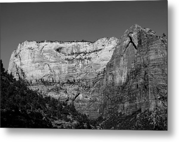Metal Print featuring the photograph Zion Cliff And Arch B W by Jemmy Archer