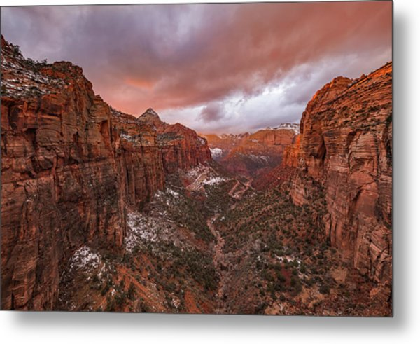 Zion Np -- Overlook Sunset Metal Print