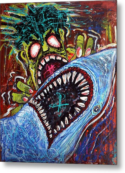 Zombie Shark Fight Metal Print by Laura Barbosa
