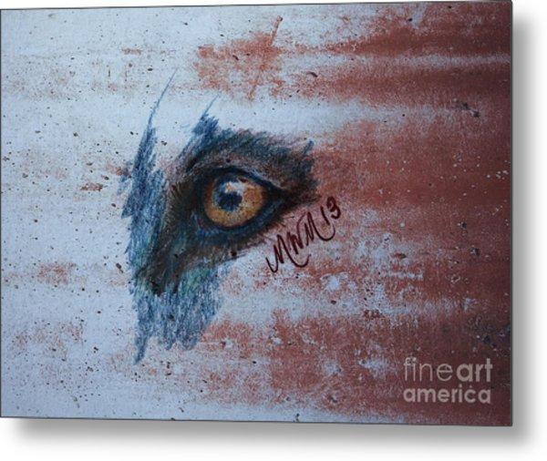 Zombie Wolf Eye Metal Print