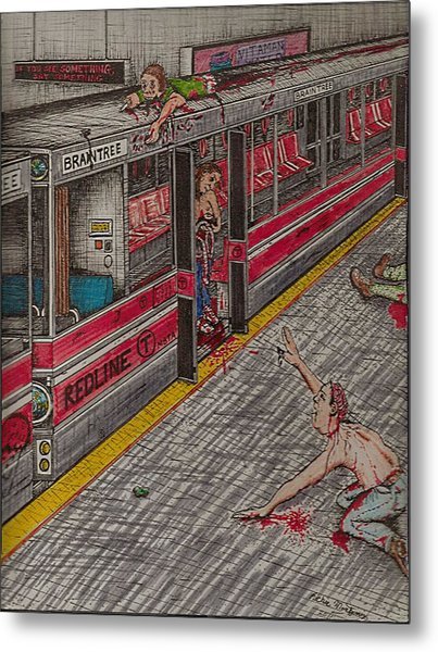Zombies On The Red Line Metal Print