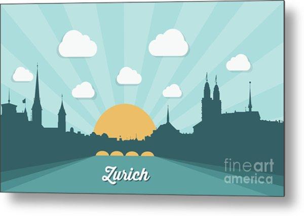 Zurich Skyline, Switzerland - Flat Metal Print
