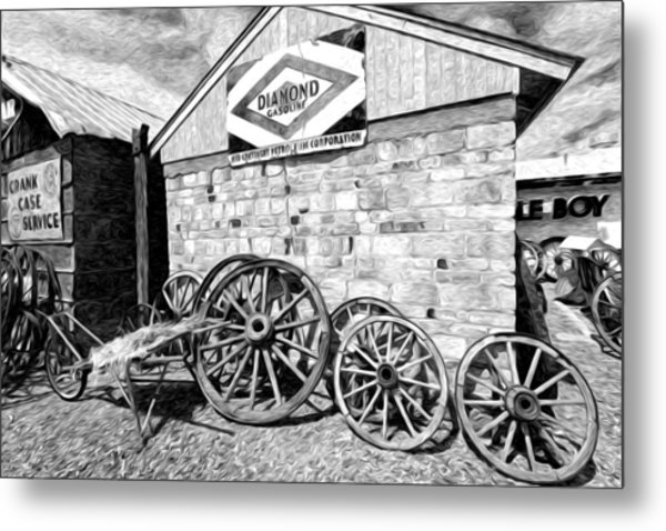 Antique Wagon Wheels Metal Print by James Steele