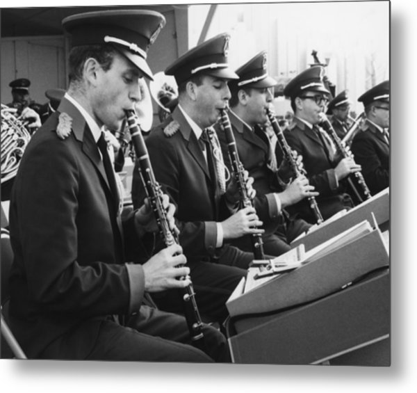 Brass Band Playing Outdoors, (b&w) Metal Print by George Marks