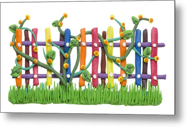 Fragment Of The Village Fence And Flowers Metal Print