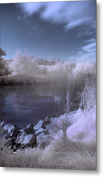 Infrared Pond Metal Print