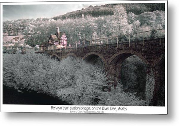 Infrared Train Station Bridge Metal Print