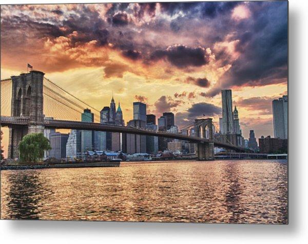 Sunset Over The Brooklyn Bridge Metal Print