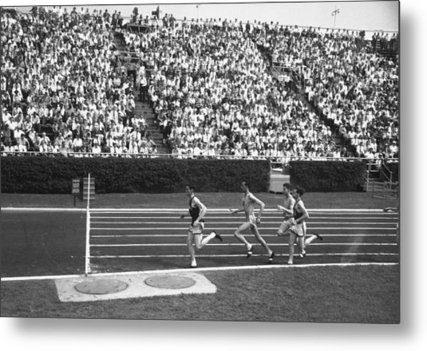Track Athletes Running On Track, (b&w), Elevated View Metal Print by George Marks