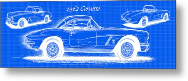 1962 Corvette Blueprint Metal Print