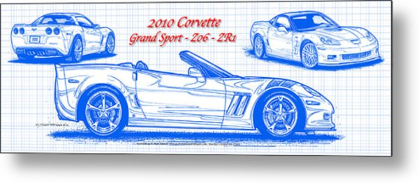 2010 Corvette Grand Sport - Z06 - Zr1 Blueprint Metal Print