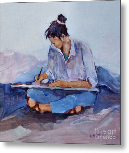 Artist In Pink And Blue Metal Print