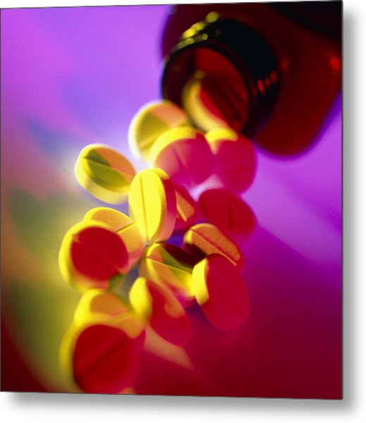 Aspirin Pills Spilled From A Bottle Metal Print by Tek Image